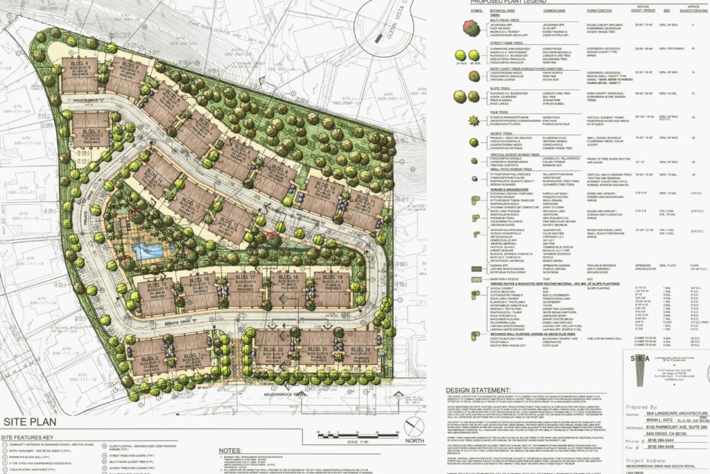 Colour rendered layout plan of 22 buildings with access road, swimming pool and landscaping